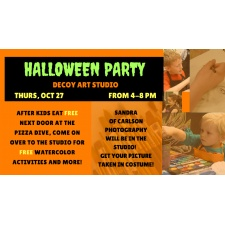 Halloween Party ~ FREE Watercolor Activity Age 10 & Under