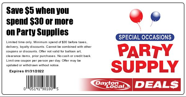Special Occasions Party Supply Coupon