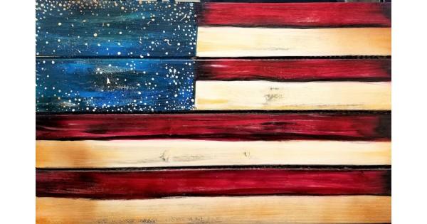 Sip N Paint - Flag on Wood