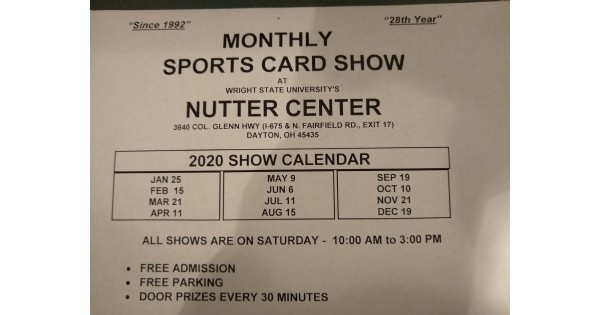 Nutter Center Monthly Sports Card Show - suspended