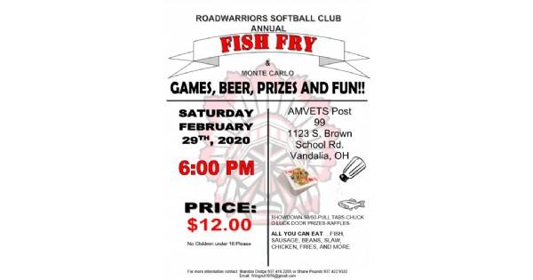Roadwarriors Softball Club Annual Fish Fry and Monte Carlo