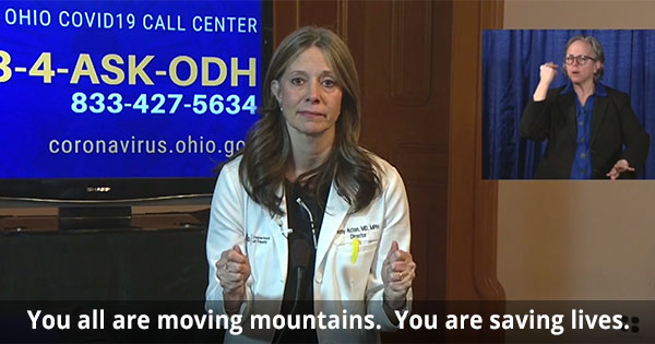Dr. Amy Acton delivers a message of hope to Ohioans