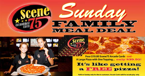 picture about Scene 75 Printable Coupons identified as Sunday Relatives Evening meal Package deal at Scene75