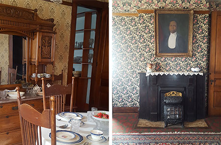 Dunbar formal parlor and kitchen