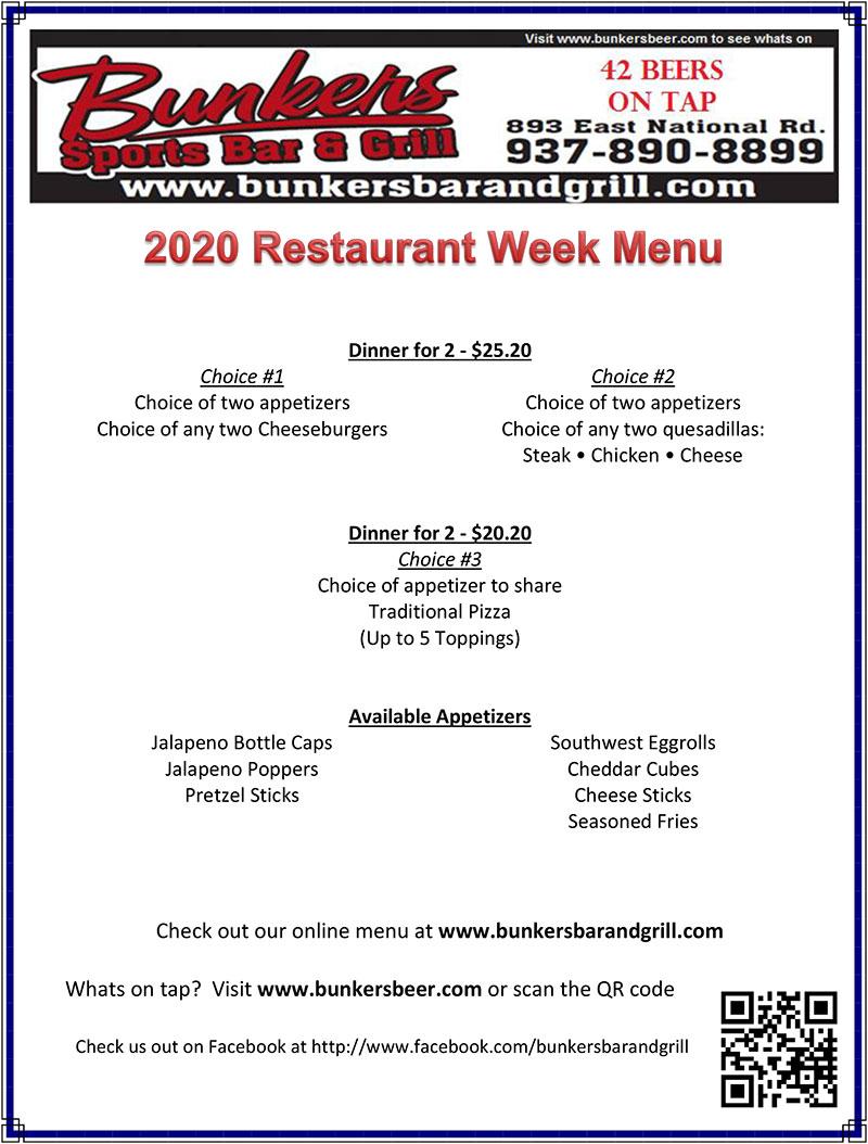 Bunkers 2020 Restaurant Week Menu