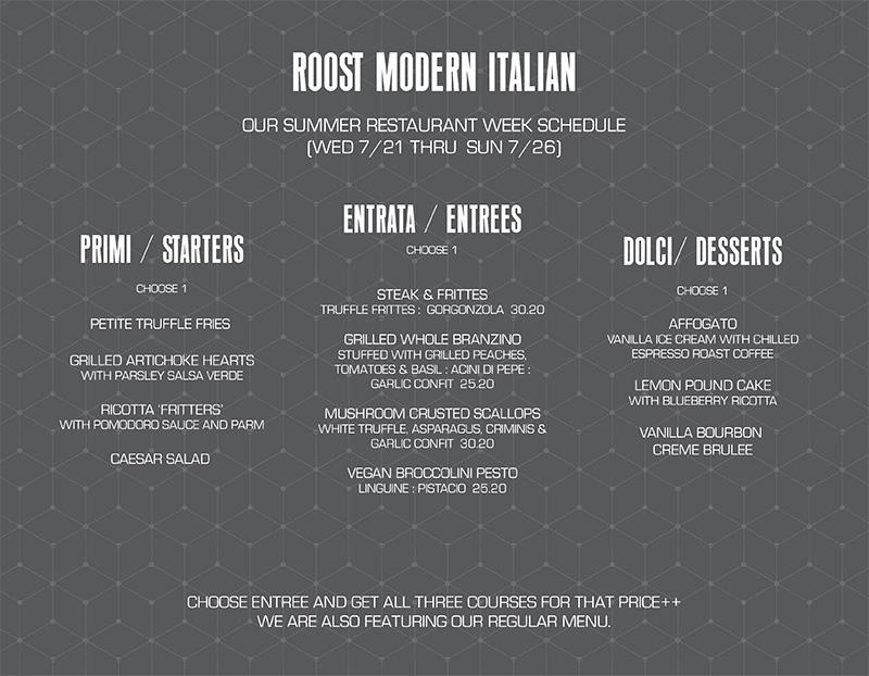 Roost Italian Restaurant Week Menu