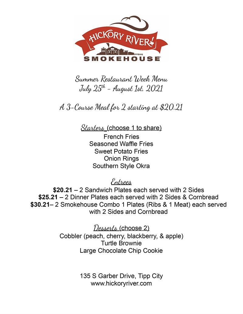 Hickory River Smokehouse Restaurant Week Menu