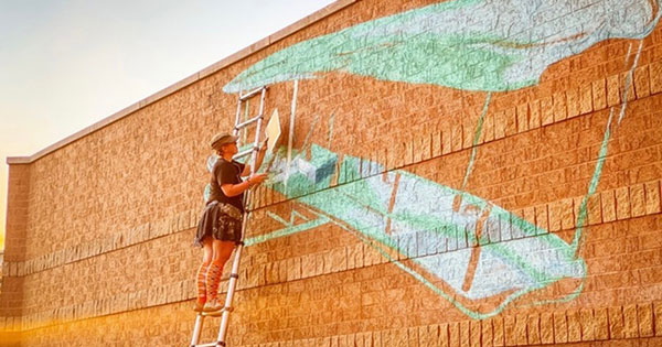 Mall at Fairfield Commons partners with local artist for new aviation-themed mural